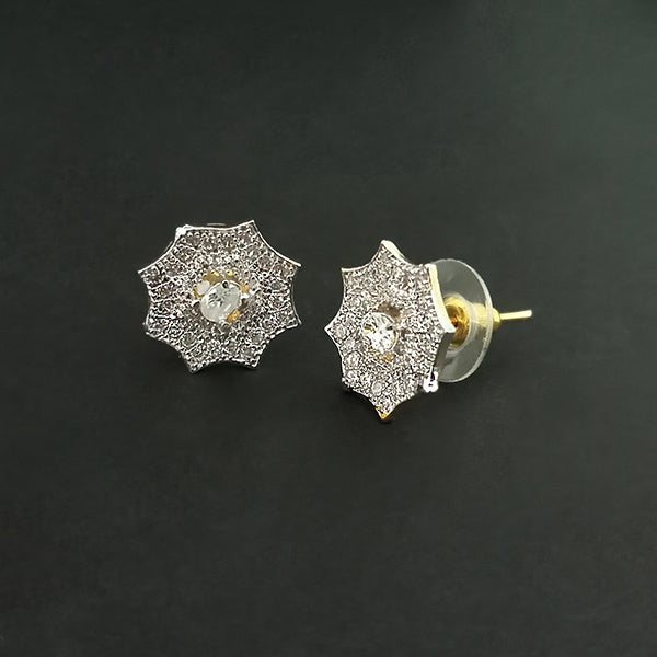 Labono Art Gold Plated AD Stone Stud Earrings