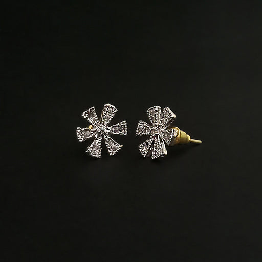 Labono Art Rhodium Plated AD Stone Stud Earrings