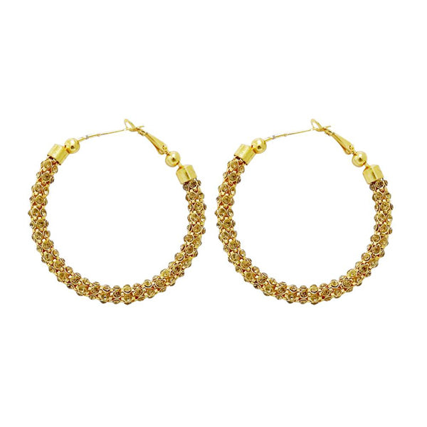 Jheel Brown Austrian Stone Gold Plated Hoop Earrings