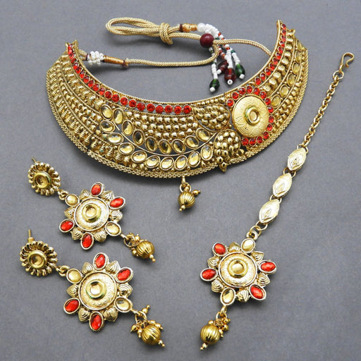Bajrang Austrian Stone Copper Necklace Set With Maang Tikka