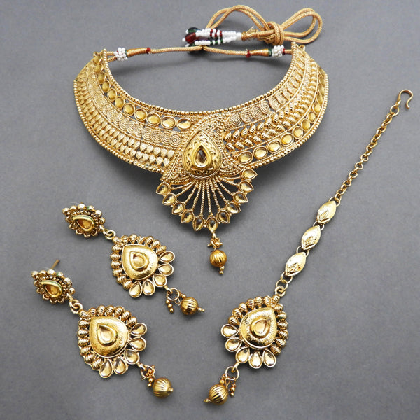 Bajrang Copper Necklace Set Kundan With Maang Tikka