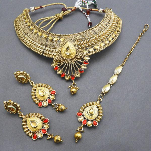 Bajrang AD Stone Copper Necklace Set With Maang Tikka - FBA0003B