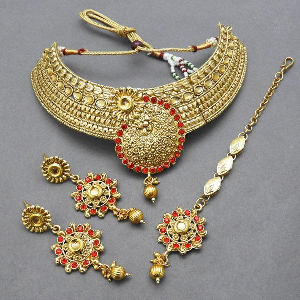 Bajrang AD Stone Copper Necklace Set With Maang Tikka - FBA0004B
