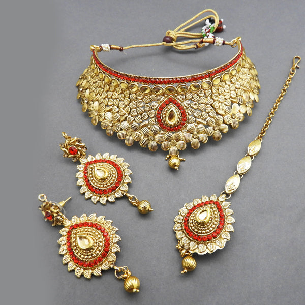 Bajrang Arts Austrian Stone Copper Necklace Set With Maang Tikka