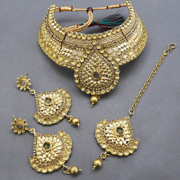 Bajrang Stone Copper Necklace Set With Maang Tikka