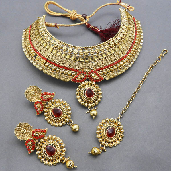 Bajrang Red Stone Copper Necklace Set With Maang Tikka