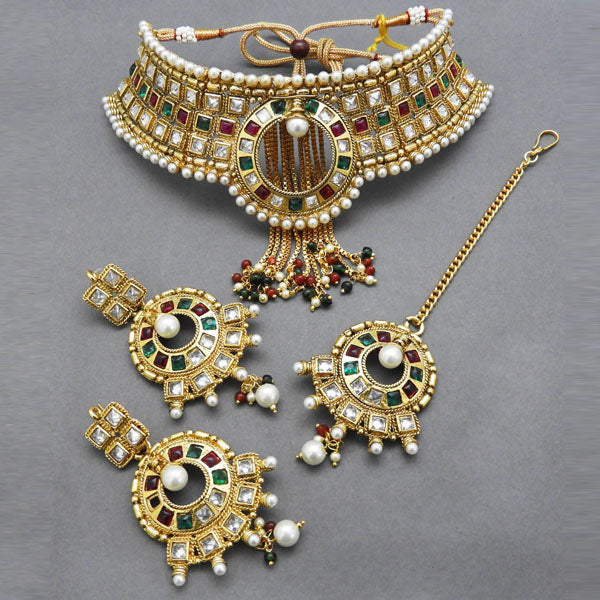Bajrang AD Stone Copper Necklace Set With Maang Tikka
