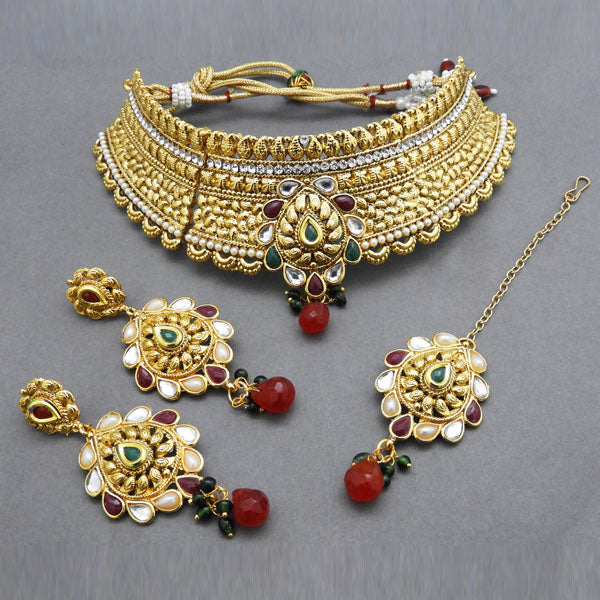 Bajrang Arts Stone Kundan Copper Necklace Set With Maang Tikka