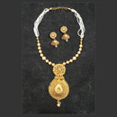 Bajrang Brown Pearl Kundan Copper Necklace Set