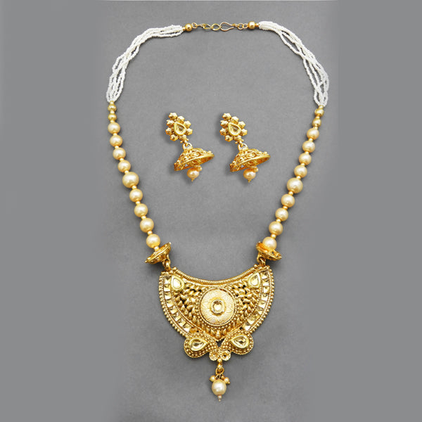 Bajrang Pearl White Kundan Copper Necklace Set