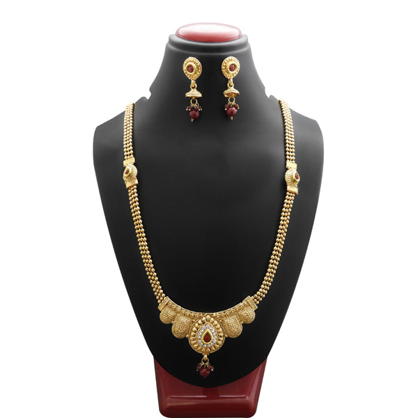 Bajrang Maroon Stone Copper Necklace Set