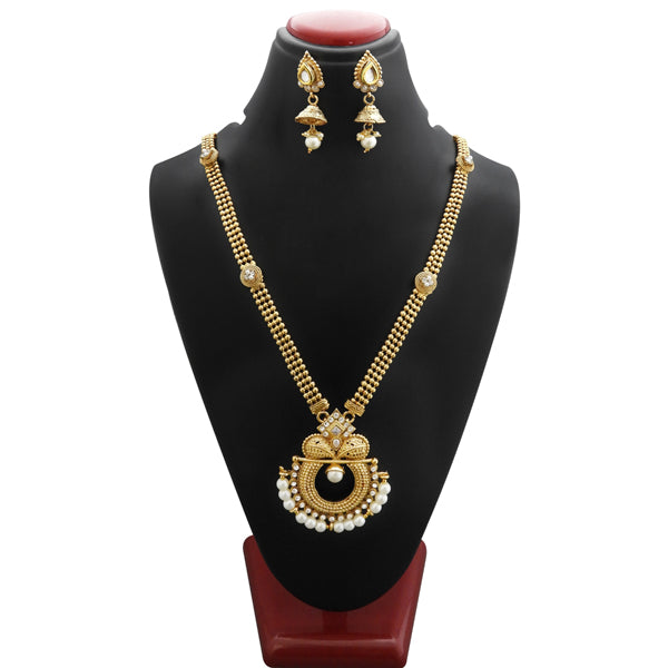 Bajrang White Pearl Stone Copper Necklace Set