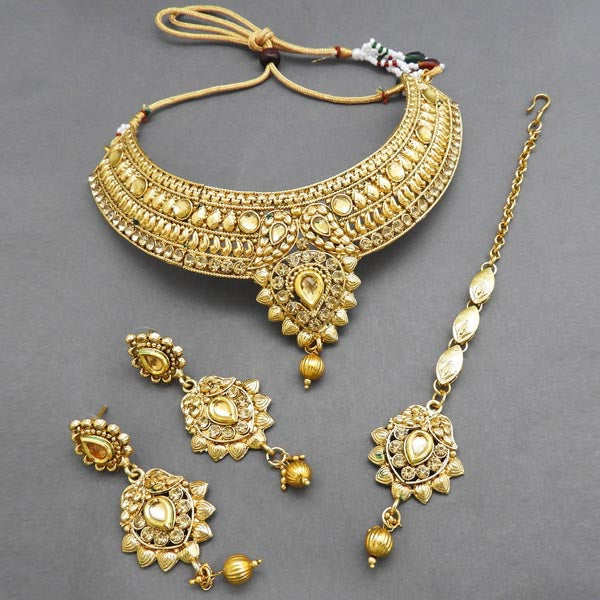 Bajrang Austrian Stone Necklace Set With Maang Tikka