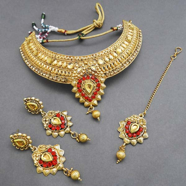 Bajrang Red AD Stone Necklace Set With Maang Tikka