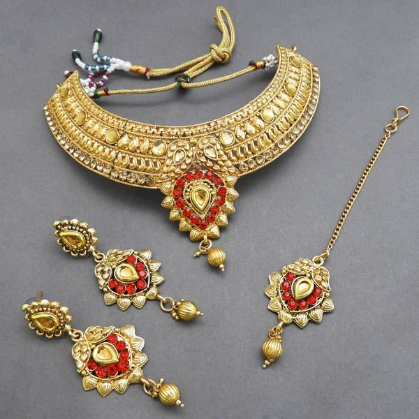 Bajrang Red AD Stone Necklace Set With Maang Tikka - FBA0036