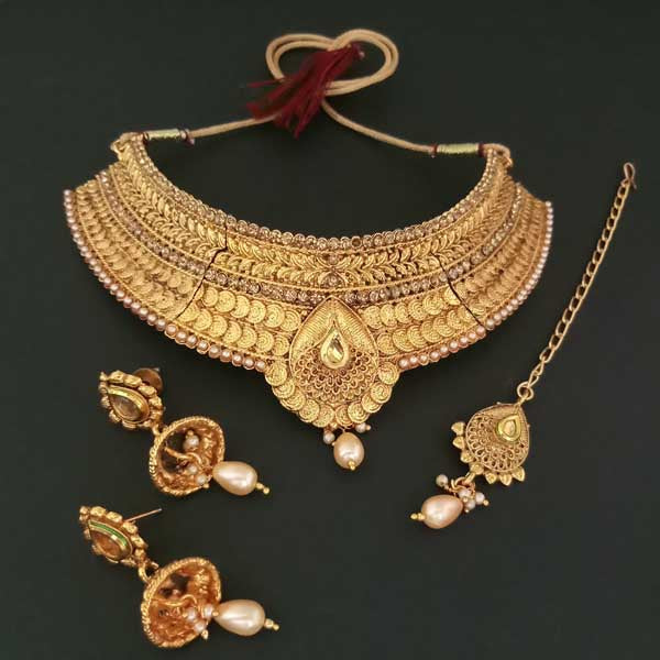 Bajrang Arts Copper Necklace Set With Maang Tikka