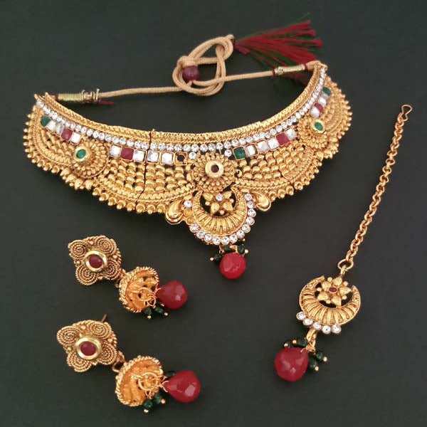 Bajrang Arts AD Stone Copper Necklace Set With Maang Tikka