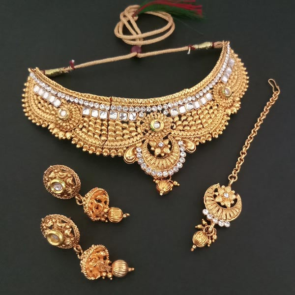 25a0a1871c0f7 Bajrang Arts AD Stone Copper Necklace Set With Maang Tikka