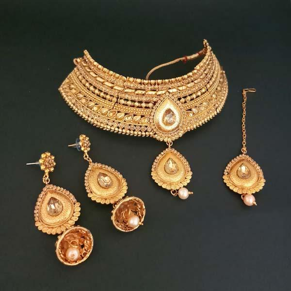 Bajrang Arts AD Stone Copper Necklace Set With Maang Tikka - FBA0039A