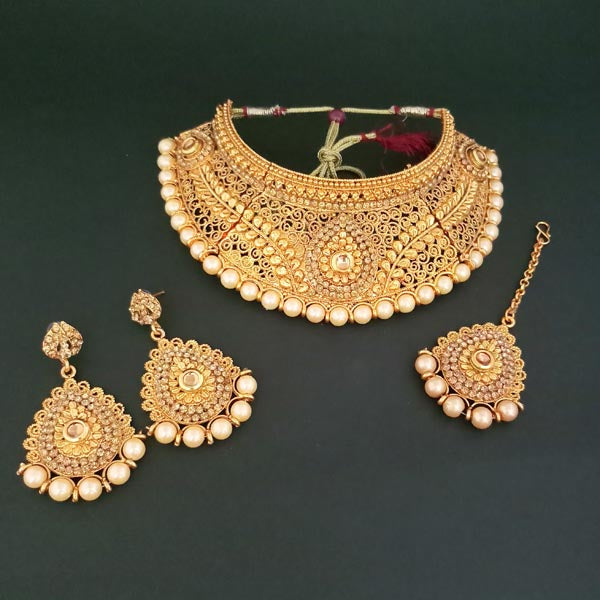 Bajrang Arts Copper Pearl Necklace Set With Maang Tikka