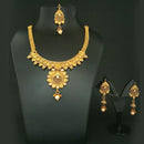 Bajrang Arts Kundan Copper Necklace Set With Maang Tikka