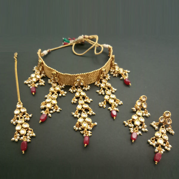 Real Creation AD Stone Choker Necklace Set With Maang Tikka