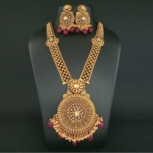 Real Creation Maroon Pota Stone Copper Necklace Set