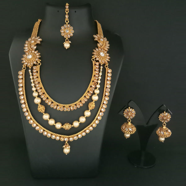 Real Creation AD Stone Copper Necklace Set With Maang Tikka