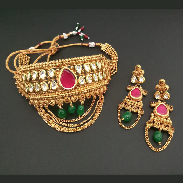 Real Creation AD Stone Kundan Choker Copper Necklace Set