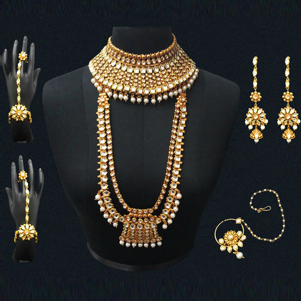 mini stone toned studded gold white online buy pearls jewellery designer sets zaveri set myntra