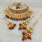 Real Creation AD Kundan Copper Necklace Set With Maang Tikka