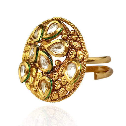 Real Creation Kundan Stone Adjustable Copper Ring