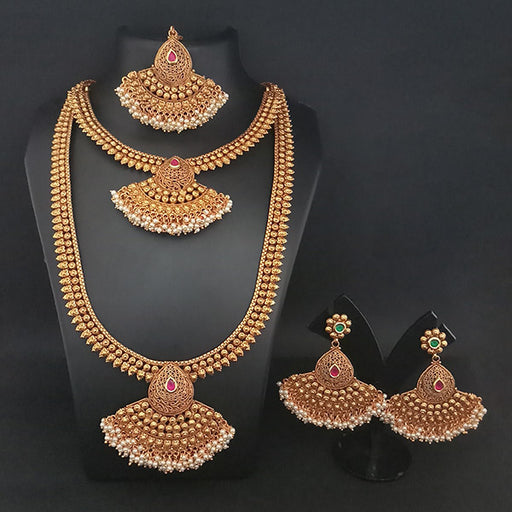 Real Creation Copper Double Necklace Set With Maang Tikka