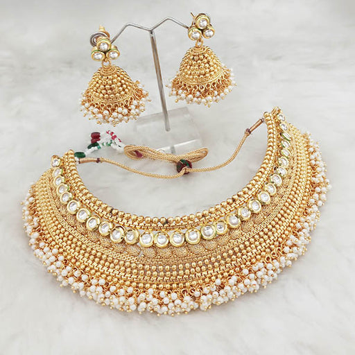 Real Creation AD Kundan Copper Choker Necklace Set