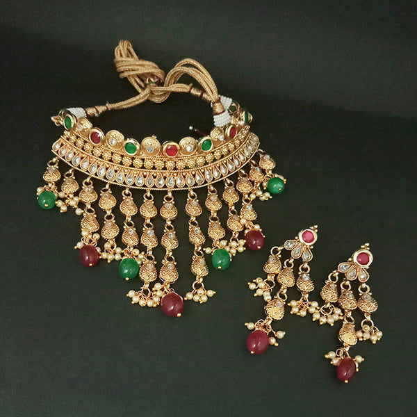 Real Creation Kundan AD Stone Choker Copper Necklace Set
