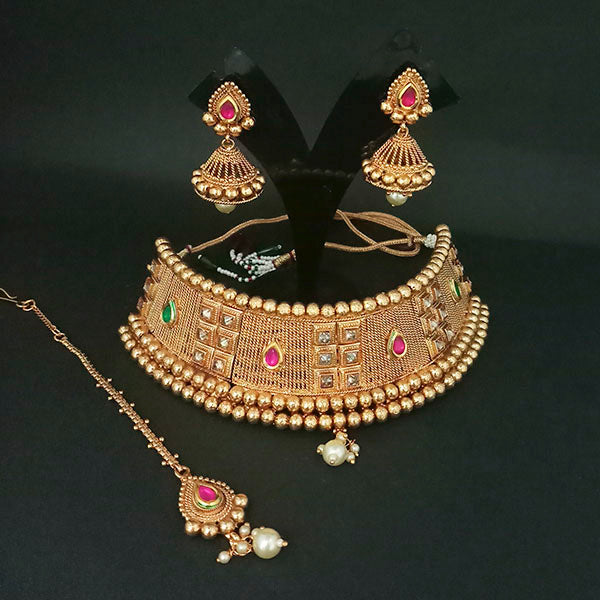 Real Creation AD Stone Choker Copper Necklace Set With Maang Tikka