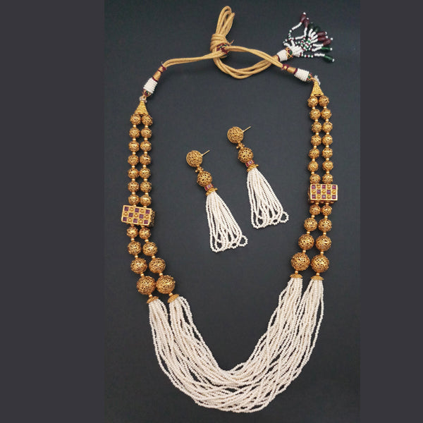 Ganpati Arts Stone Pearl Copper Necklace Set