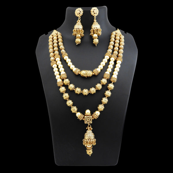 Ganpati Pearl Gold Plated Layer Copper Necklace Set
