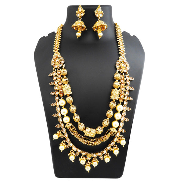 Ganpati Arts Stone Pearl Layer Copper Necklace Set
