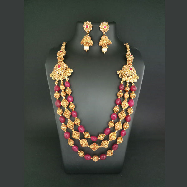 Ganpati Arts Maroon Beads Copper Necklace Set