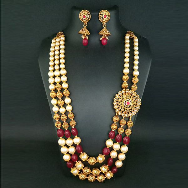 Ganpati Arts AD Stone & Beads Copper Necklace Set