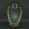 Ganpati Arts AD Stone Green Beads Copper Necklace Set