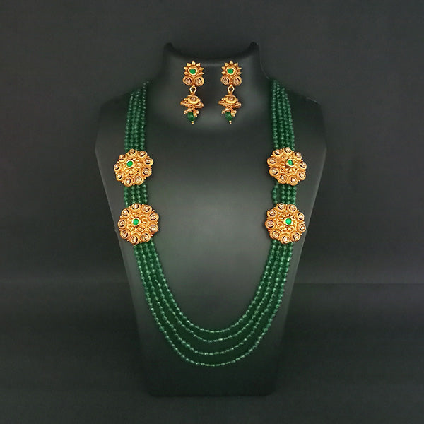 Ganpati Arts AD Stone Beads Copper Necklace Set