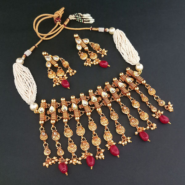 Ganpati Arts Kundan Stone Copper Choker Necklace Set