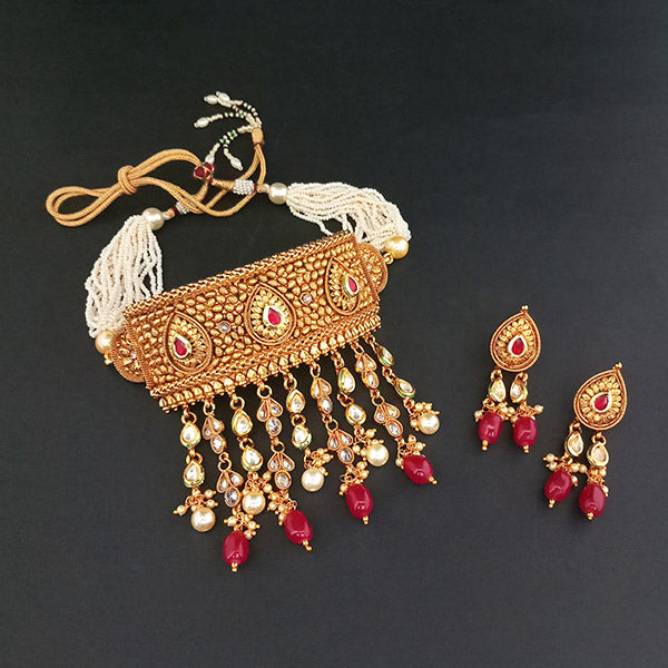 Ganpati Arts AD Stone Copper Choker Necklace Set