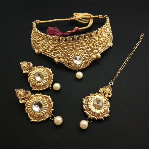 Shreeji Creation Austrian Stone Choker Gold Plated Necklace Set - FBD0001A