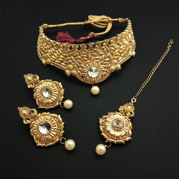 Shreeji Creation Austrian Stone Choker Gold Plated Necklace Set