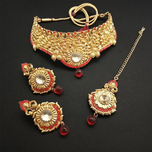 Shreeji Creation Gold Plated Red Stone Choker Necklace Set - FBD0001B