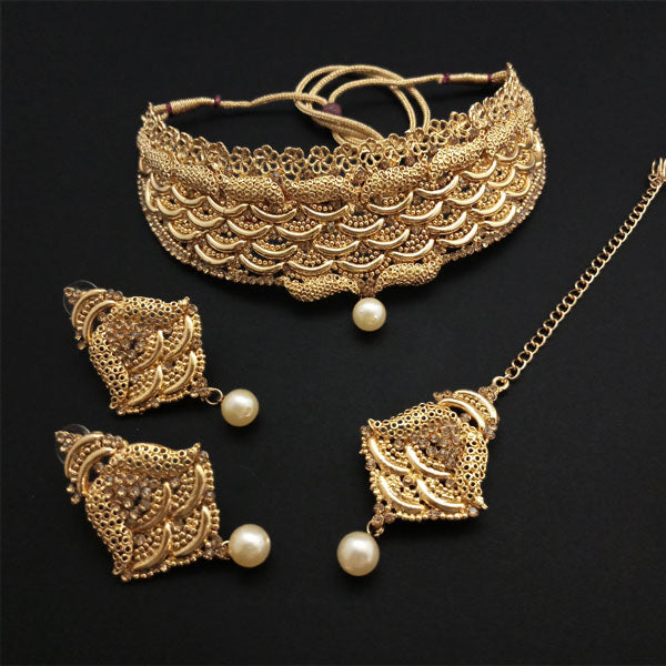 Shreeji Creation Gold Plated Brown Stone Choker Necklace Set