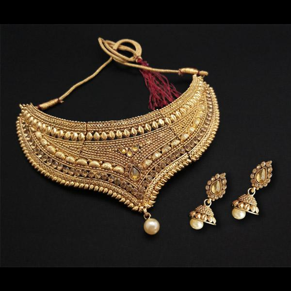 Shreeji Creation Gold Plated Brown Stone Choker Necklace Set - FBD0003A